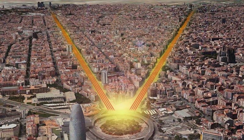 Manifestació en forma d'V que tindrà lloc al llarg de la Diagonal i la Gran Via de Barcelona fins a la plaça de les Glòries Imatge virtual facilitada per l'ANC i Òmnium Cultural
